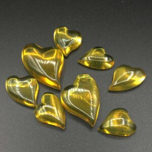Amber Cabochons and Hearts