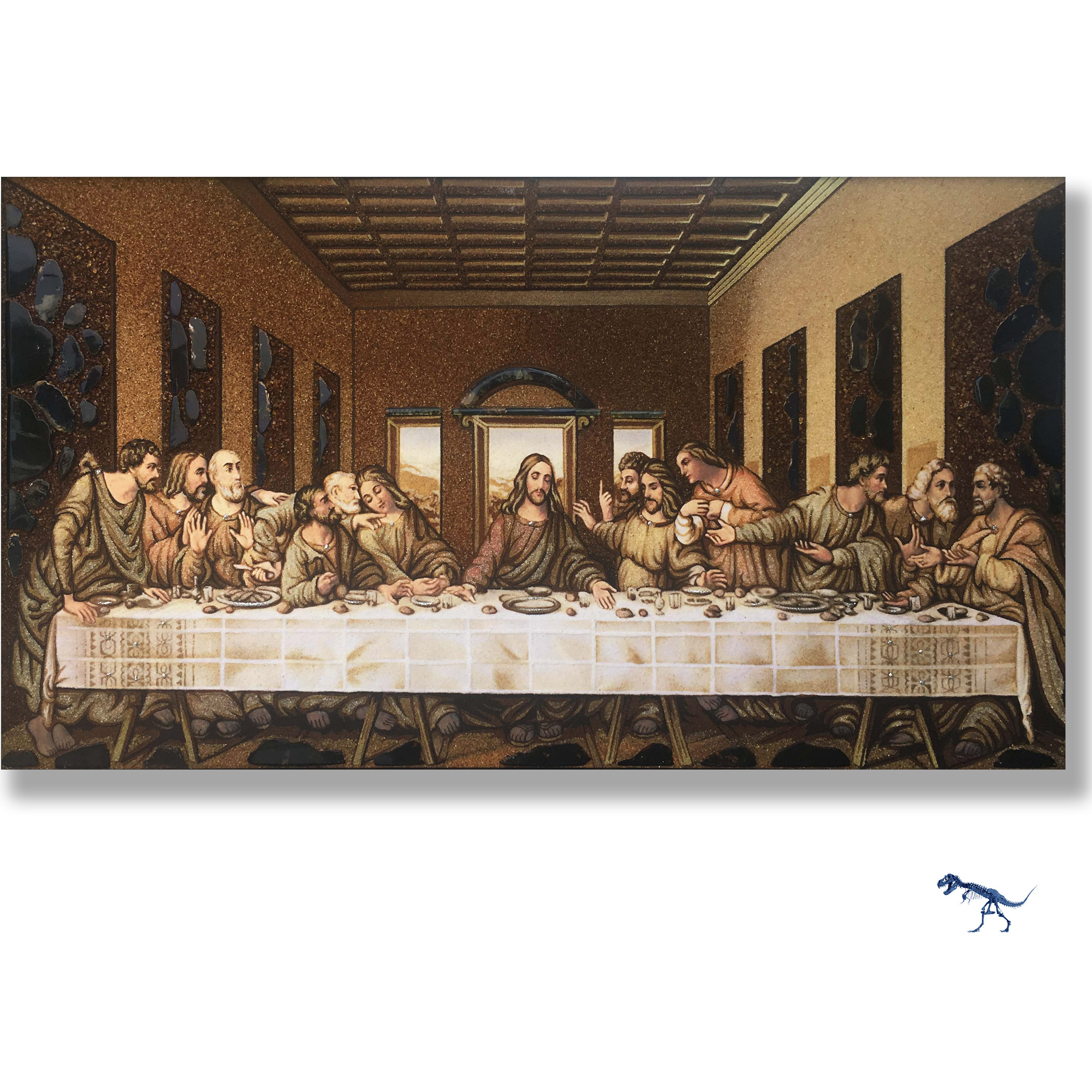 """This Beautiful Art is exclusive only to Amber International. Leonardo da Vici """"the last supper""""  made all from Dominican Republic Amber. Our Artist spend three weeks making this beautiful master piece of art in a museum standard grade. the large pieces of amber are of Dominican Blue and green Amber. The last supper is shipped in a black frame, the frame might have a few scratches. The purpose of the frame is to add additional support and protection to the master piece."""